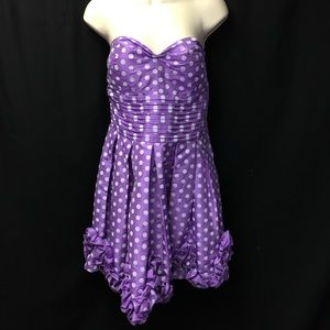 Daisy Purple White Polka Dot Strapless Dress Large